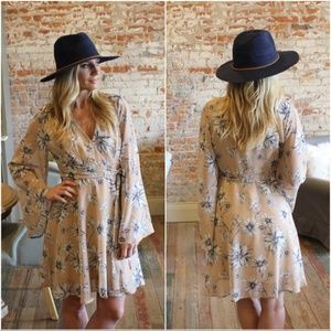 ❤️LAST ONETaupe Floral Bell Sleeve Faux Wrap Dress